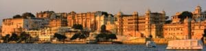 Sunset view of City Palace, Udaipur on the east bank of Lake Pichola. One of India's famous landmarks.