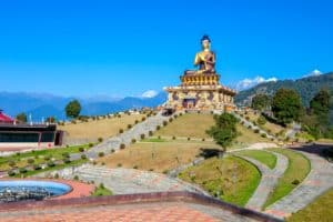 The 130-foot high statue of the Buddha in The Buddha Park of Ravangla is one of tourist attractions and a stop on the 'Himalayan Buddhist Circuit' in Sikkim